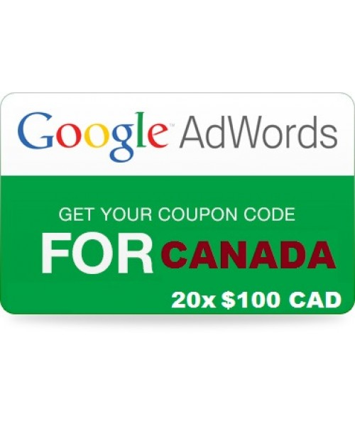 20 x 100 CAD Google Adwords vouchers for CANADA