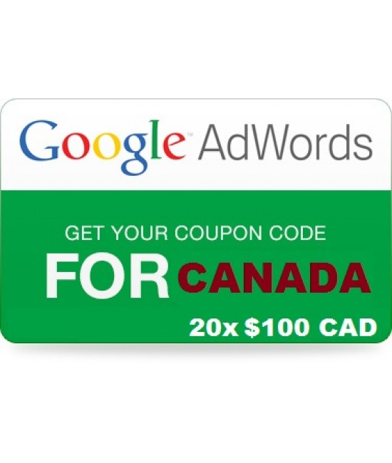 20 x 100 CAD Google Adwords promotional code CANADA for 2018