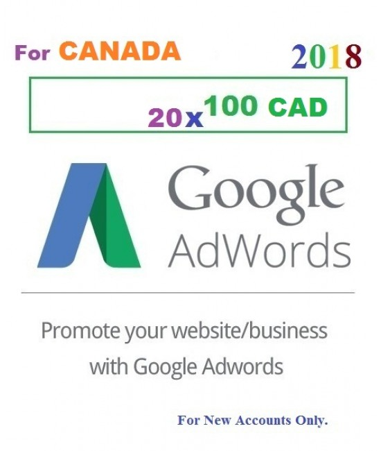 20 x 100 CAD Google Adwords promotional Coupon code CANADA for 2018