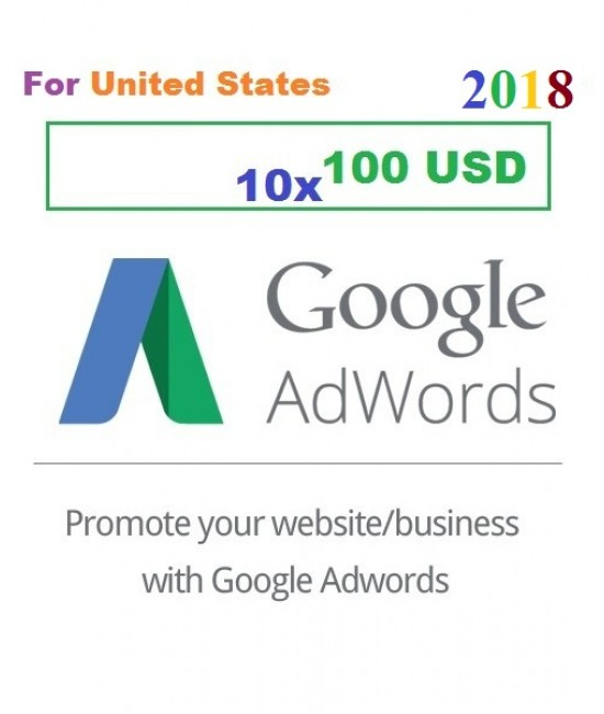 10 x 100 USD Google Adwords Promo coupon code USA for 2018