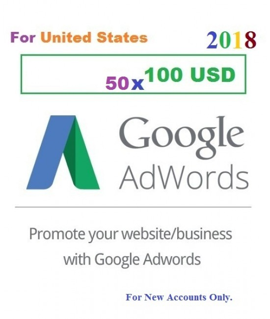 50 x 100 USD Google Adwords coupon vouchers USA for 2018