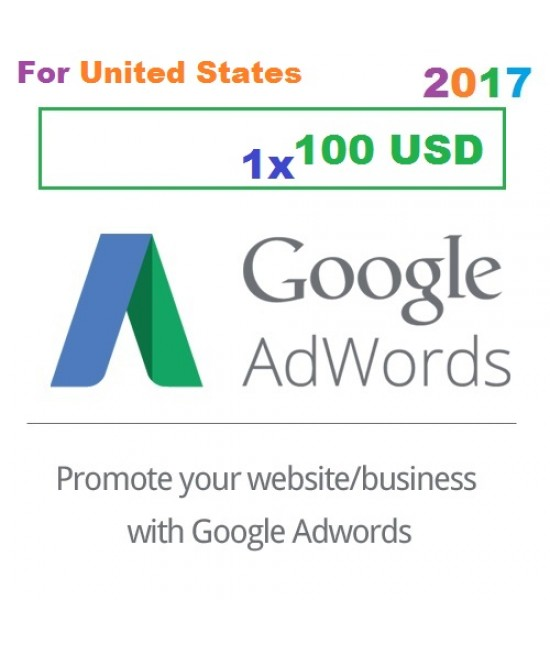 $100 USD Google Adwords coupon code for USA