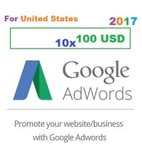 10 x 100 USD Google Adwords voucher USA for 2018