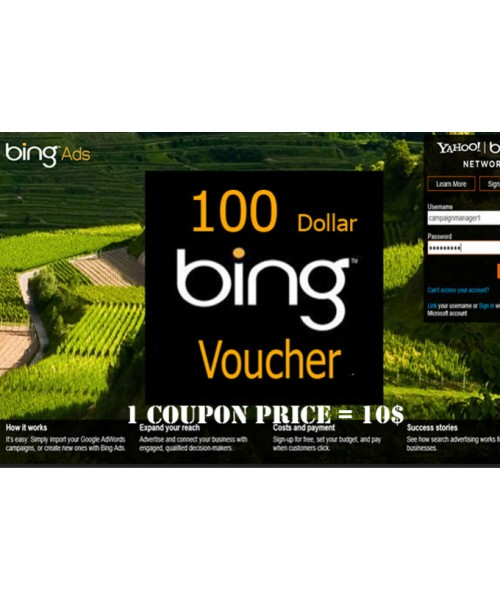 $100 USD bing ads coupon for USA