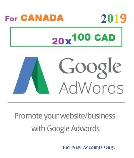 20 x 100 CAD Google Adwords promotional Coupon code CANADA for 2019