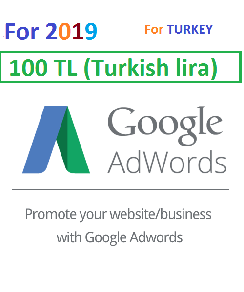 100 TL (Turkish lira) Google Ads Coupon Turkey for 2019