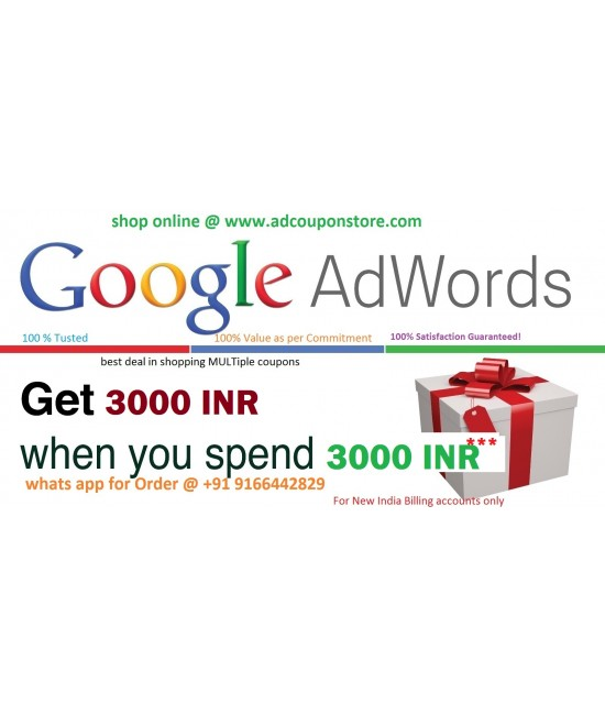 Google Adwords Promo coupon code 3000 INR