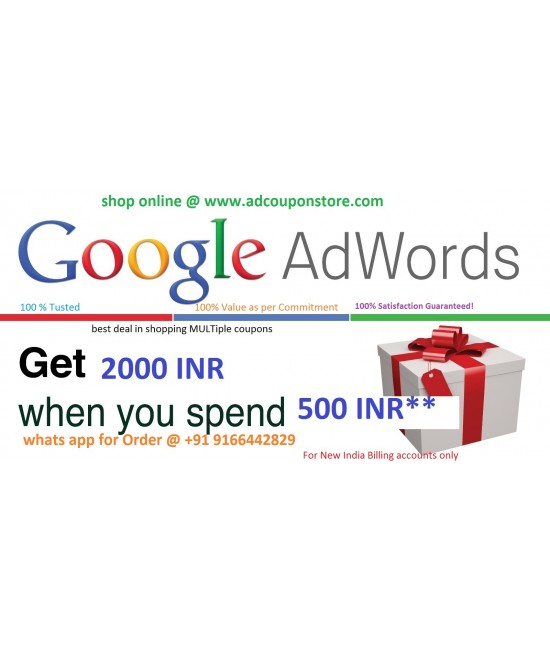 buy Google Adwords Coupon India-spend 500 and Get 2000 INR