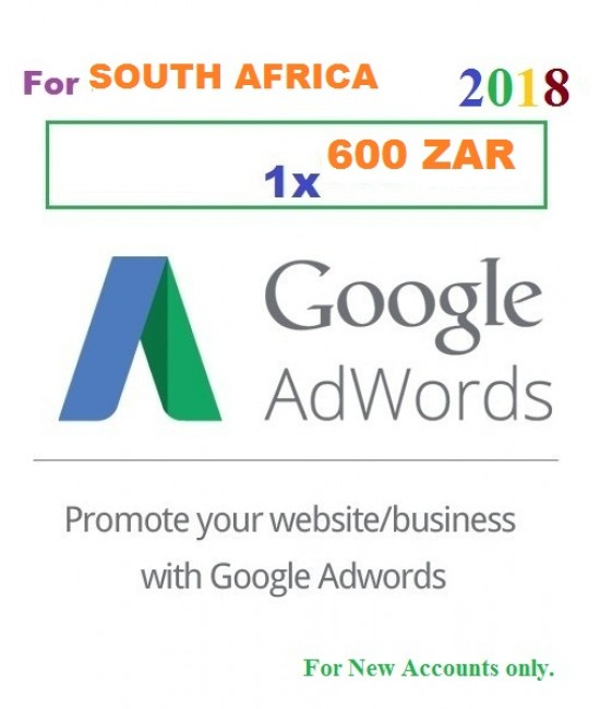 600 ZAR Google Adwords coupons South Africa for 2018