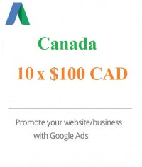 10 x $100 CAD Google Ads Voucher Canada for 2020