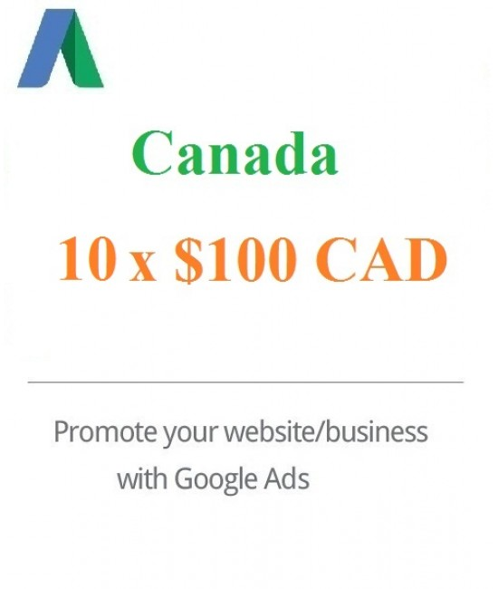 10 x $100 CAD Google Ads Voucher Canada for 2021
