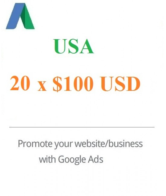 20 x $100 USD Google Ads Coupon for USA