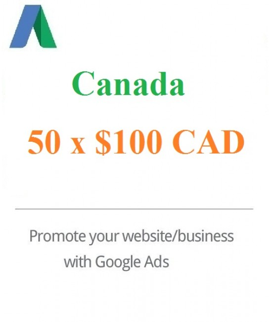 50 x 100 CAD Google Adwords coupon code Canada for 2020