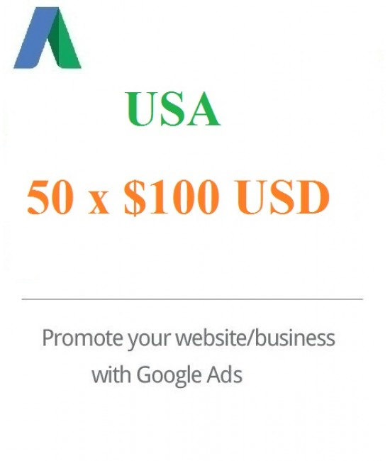 50 x 100 USD Google Ads Vouchers USA for 2020