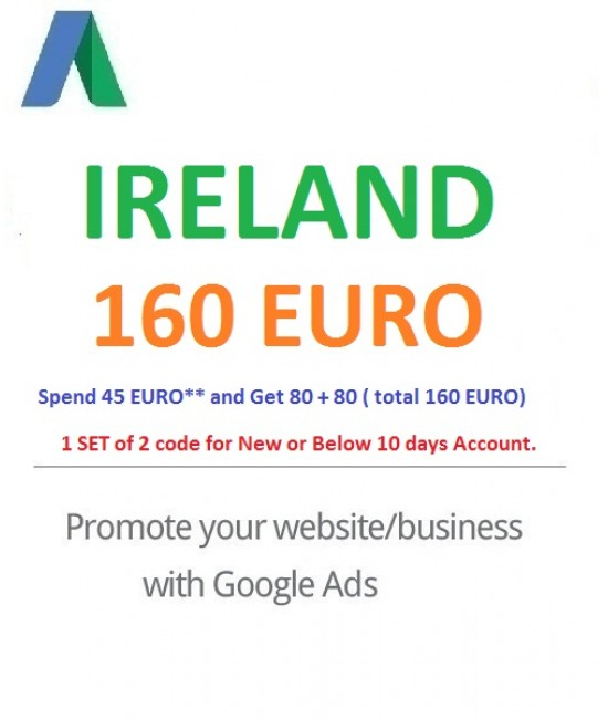 € 160 Euro Google Ads coupon Ireland for 2021
