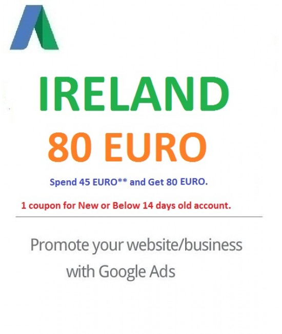 € 80 Euro Google Ads coupon Ireland for 2021