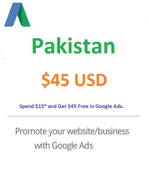 $45 USD Google Ads Coupon Pakistan