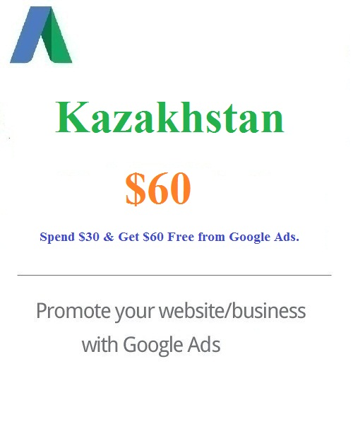 $60 Google Ads Coupon Kazakhstan