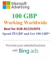 £100 GBP Bing Ads Coupon (Need £25 GBP Spending) for Main and SUB Accounts