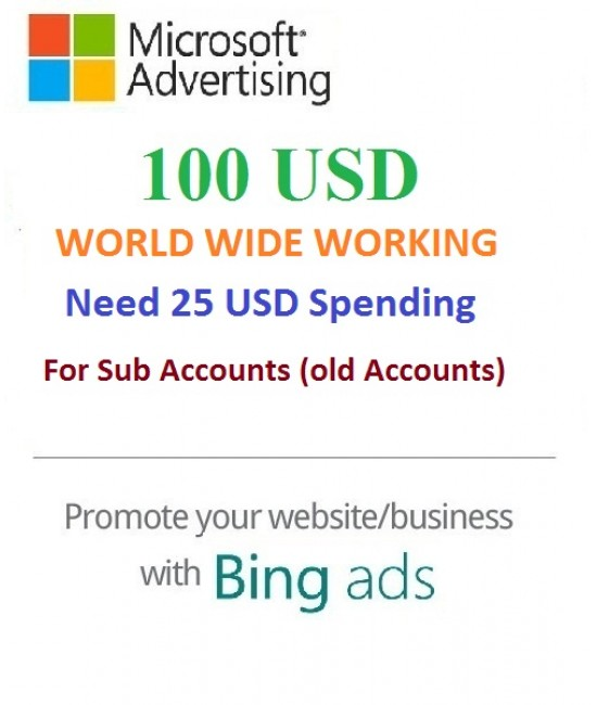 $100 USD Bing Ads Coupon (Need 25 USD Spending) For Main and SUB Accounts
