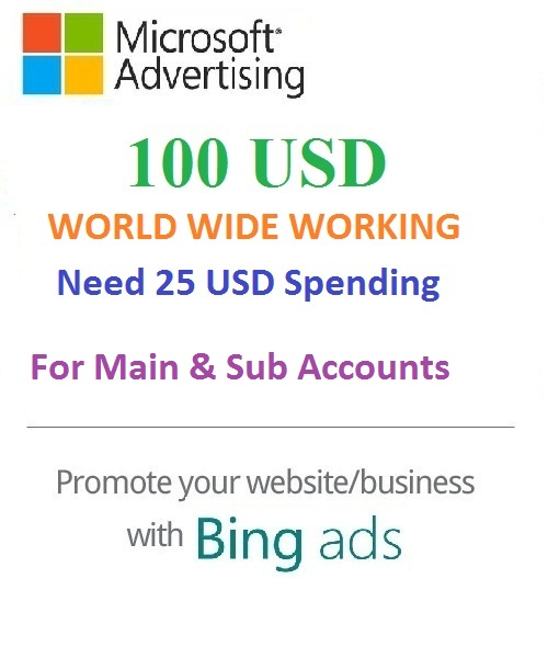 $100 USD Microsoft Advertising Coupon (Need 25 USD Spending) For Main and SUB Accounts