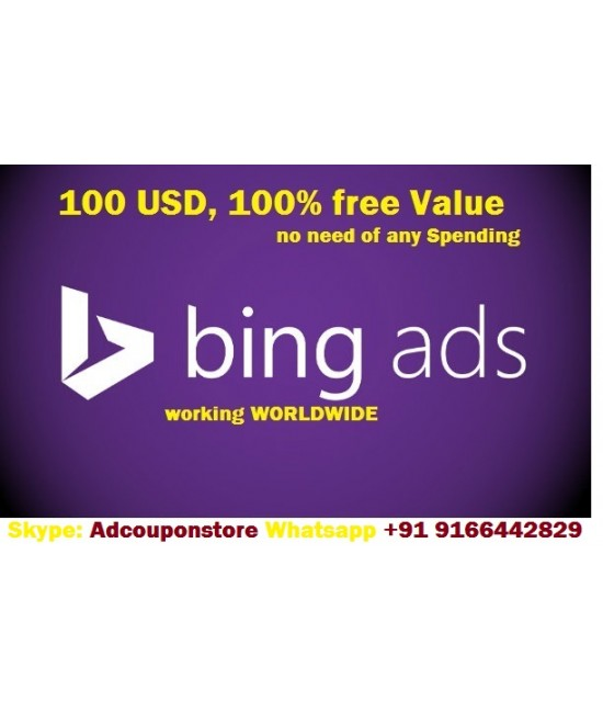 $100 Bing Ads Coupon- Worldwide Working (No Need of Spending, 100% Free Ads Value)