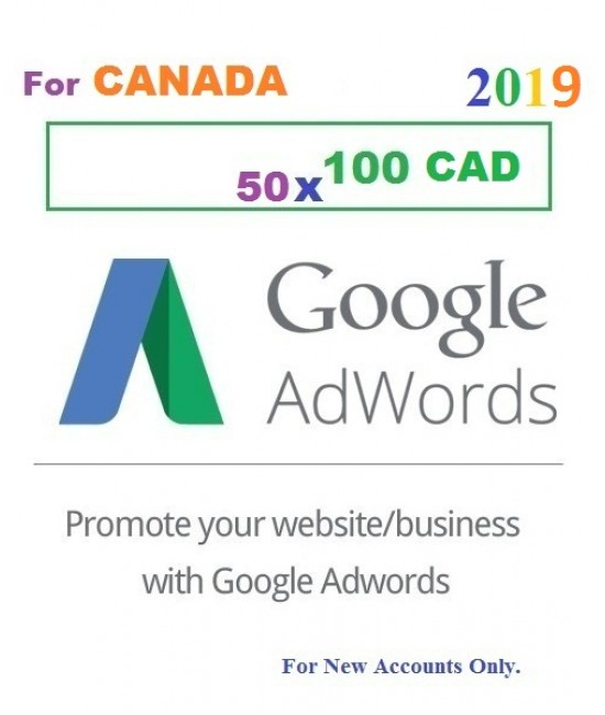 50 x 100 CAD Google Adwords coupon code Canada for 2019
