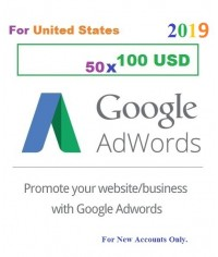 50 x 100 USD Google Adwords coupon vouchers USA for 2019