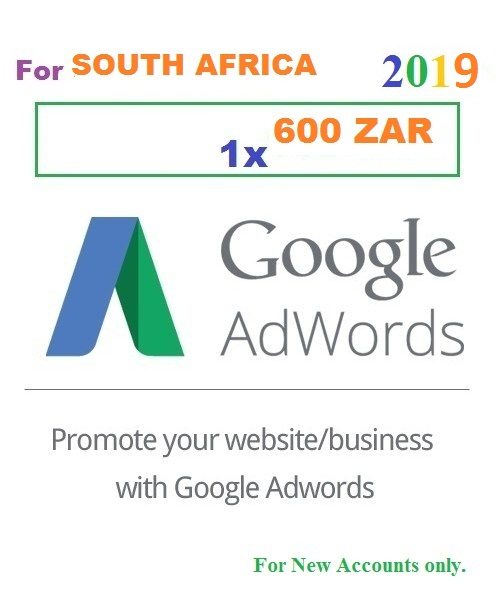 600 ZAR Google Adwords coupons South Africa for 2019